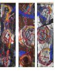 Afbeelding van kunstwerk wol en geschilderde en gezeefdrukte zijde vervilt, 3 luik, van 3 doeken