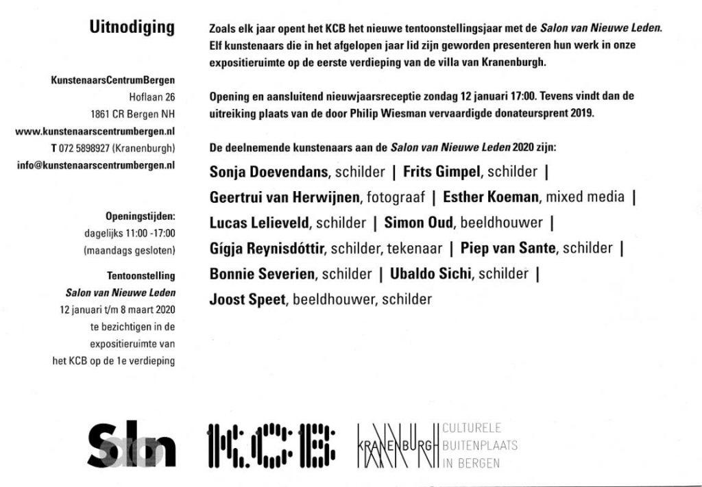 Afbeelding uitnodiging KCB, Bergen