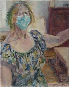 """Afbeelding van het kunstwerk """"Zelfportret met mondkapje"""""""
