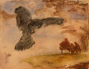 """Afbeelding van het kunstwerk """"Pianist en valk"""""""