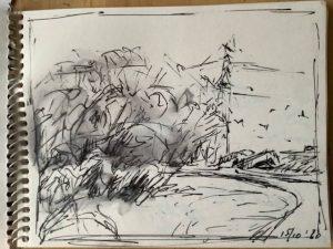 """Afbeelding van het kunstwerk """"Westerwindpad Zaandam uit de serie Urban sketches"""""""