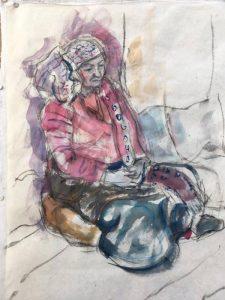 """Afbeelding van het kunstwerk """"Schets van Berty in Tamangklederdracht"""""""