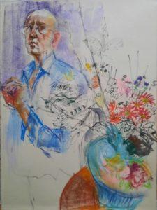 """Afbeelding van het kunstwerk """"Zelf met vaas bloemen"""""""