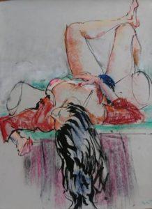 """Afbeelding van het kunstwerk """"Karina achteroverliggend"""""""
