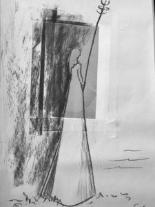 """Afbeelding van het kunstwerk """"ontwerpschets voor beeld van Sint Geertruida op Ruigoord aan de Amerika haven uit te voeren in metaalplaat op ijzeren ribben"""""""