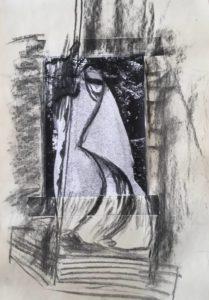 """Afbeelding van het kunstwerk """"ontwerp voor sculptuur in graniet van Sint Geertruida op Ruigoord aan de Amerika haven"""""""