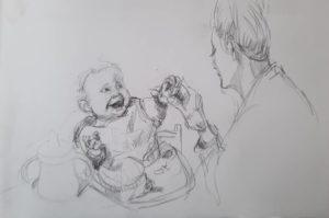 """Afbeelding van het kunstwerk """"Kleinkind Lotis wordt gevoed door dochter Andrea"""""""
