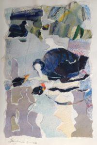 """Afbeelding van het kunstwerk """"Meerkoet met kuikens"""""""