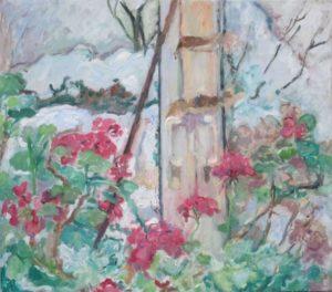 """Afbeelding van het kunstwerk """"Sneeuw achter de geraniums"""""""