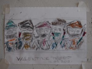 """Afbeelding van het kunstwerk """"Valentijns protest schets"""""""