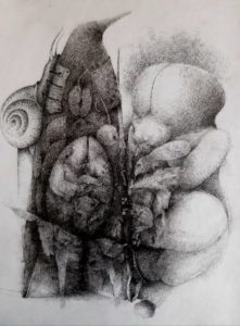 "Afbeelding van het kunstwerk ""Dwaalgast 7, in wording"""