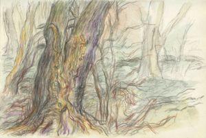 """Afbeelding van het kunstwerk """"Bomen in het Vijfhoekpark Zaandam"""""""