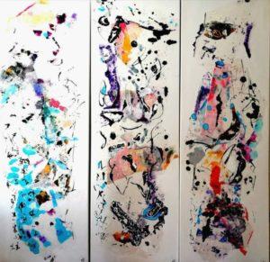 """Afbeelding van het kunstwerk """"Drieluik, serie Mijn Zen garden """""""