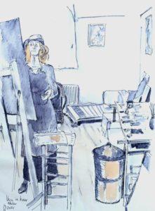 """Afbeelding van het kunstwerk """"Vera in haar atelier"""""""