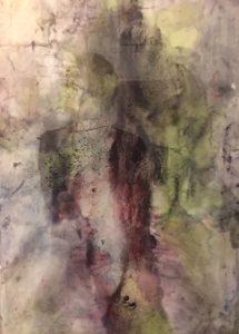 abstractie in paars en groen