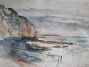 """Afbeelding van het kunstwerk """"Brouillard over Dieppe plage"""""""