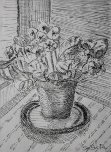 """Afbeelding van het kunstwerk """"Kaaps viooltje"""""""