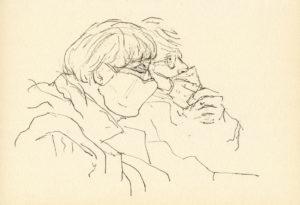 """Afbeelding van het kunstwerk """"twee dames in de trein"""""""