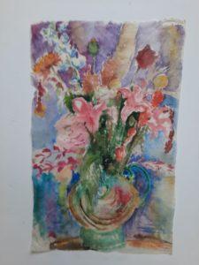 """Afbeelding van het kunstwerk """"Boeket in kleurrijke vaas"""""""