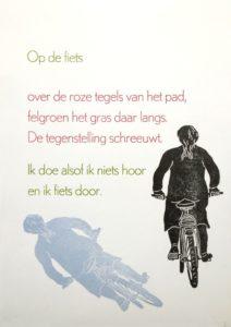"""Afbeelding van het kunstwerk """"Op de fiets"""""""
