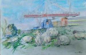 """Afbeelding van het kunstwerk """"Schapen op de dijk bij Ruigoord"""""""